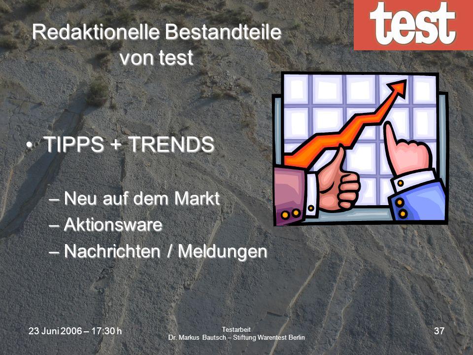 23 Juni 2006 – 17:30 h Testarbeit Dr. Markus Bautsch – Stiftung Warentest Berlin 36 Normen und Testarbeit ANSI-Lumen Dies ist eine für Verbraucher meh
