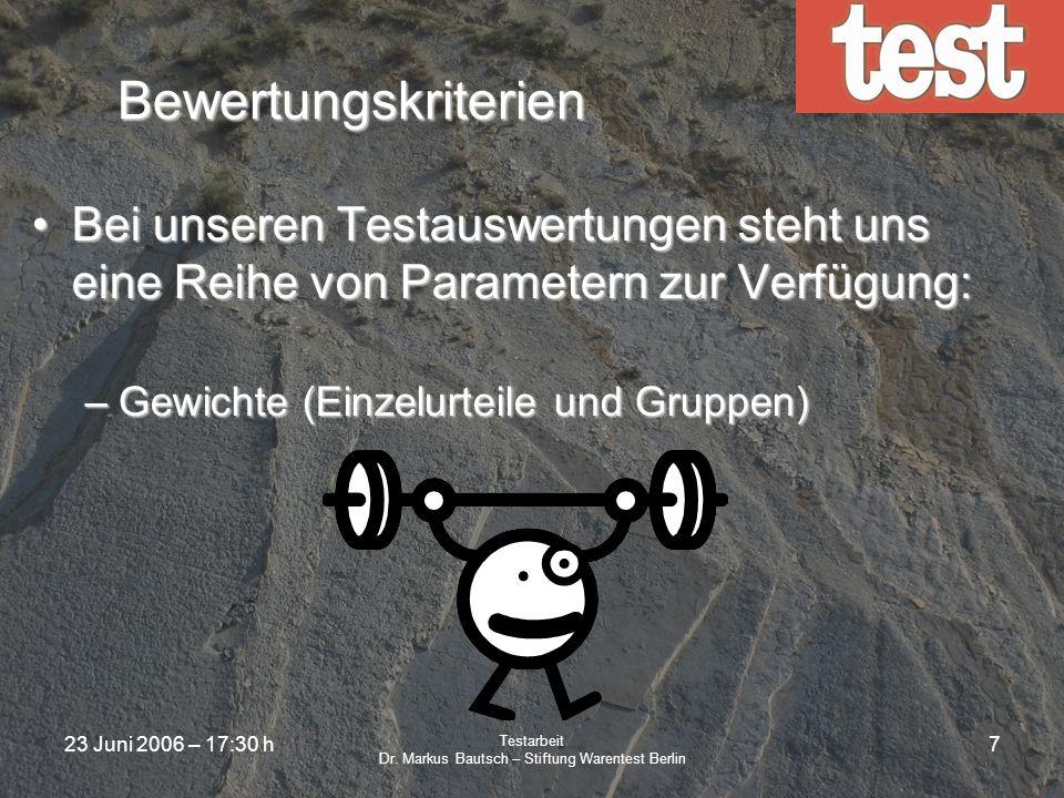23 Juni 2006 – 17:30 h Testarbeit Dr. Markus Bautsch – Stiftung Warentest Berlin 6 Prüfungen Beauftragung von externen, neutralen PrüfinstitutenBeauft