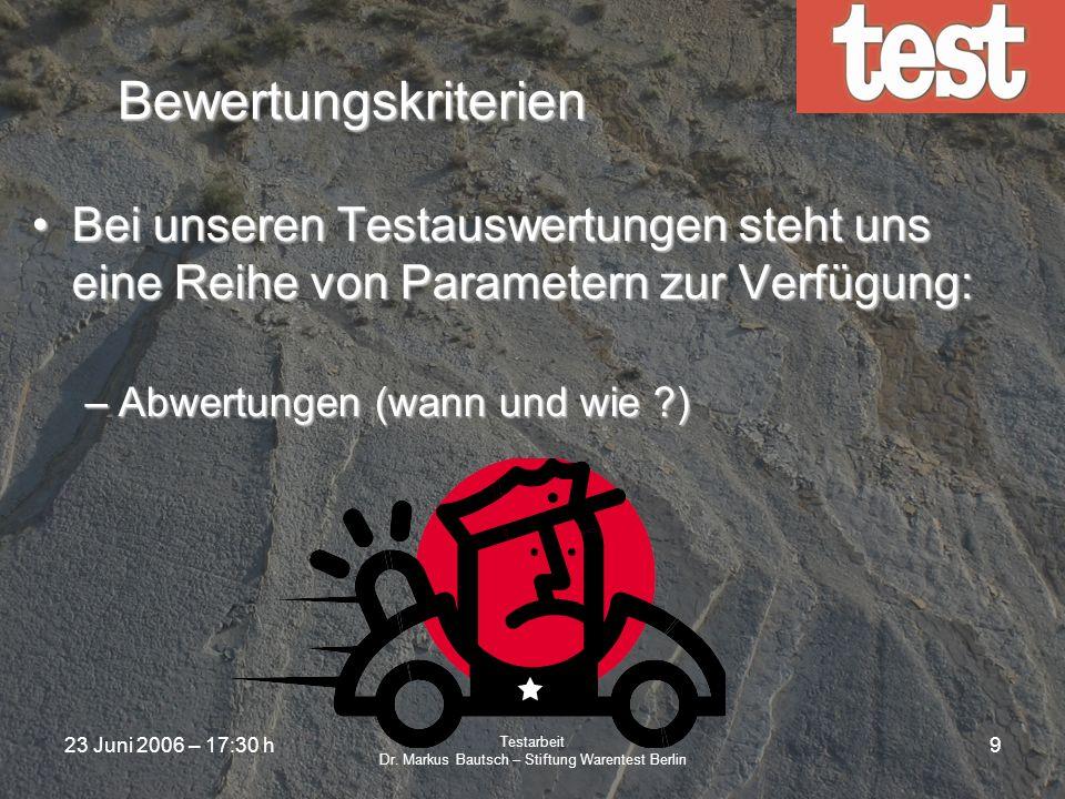 23 Juni 2006 – 17:30 h Testarbeit Dr. Markus Bautsch – Stiftung Warentest Berlin 8 Bewertungskriterien Bei unseren Testauswertungen steht uns eine Rei