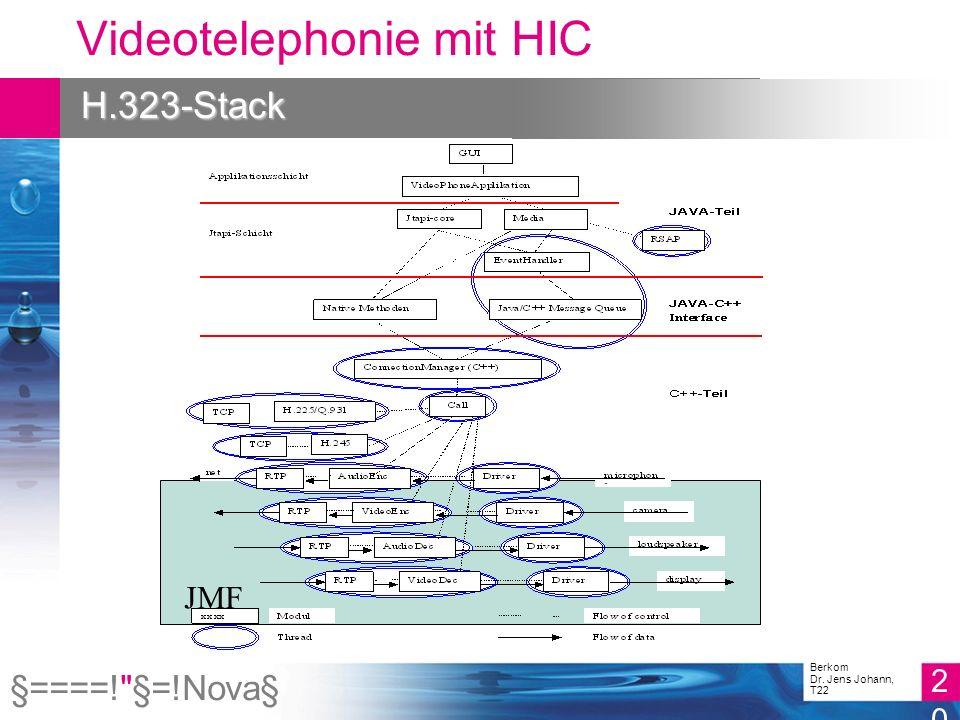 §====! §=!Nova§ 20 Berkom Dr. Jens Johann, T22 Videotelephonie mit HIC H.323-Stack JMF