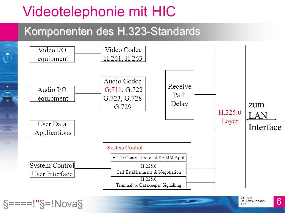 §====! §=!Nova§ 17 Berkom Dr. Jens Johann, T22 Videotelephonie mit HIC H.225-Message Exchange