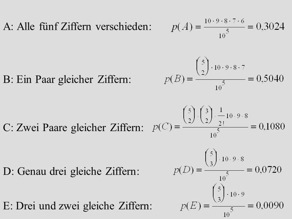 A: Alle fünf Ziffern verschieden: B: Ein Paar gleicher Ziffern: C: Zwei Paare gleicher Ziffern: D: Genau drei gleiche Ziffern: E: Drei und zwei gleich