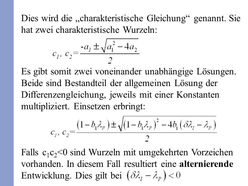 Dies wird die charakteristische Gleichung genannt.