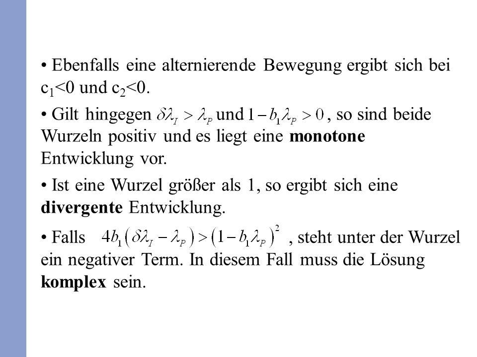 Ebenfalls eine alternierende Bewegung ergibt sich bei c 1 <0 und c 2 <0.