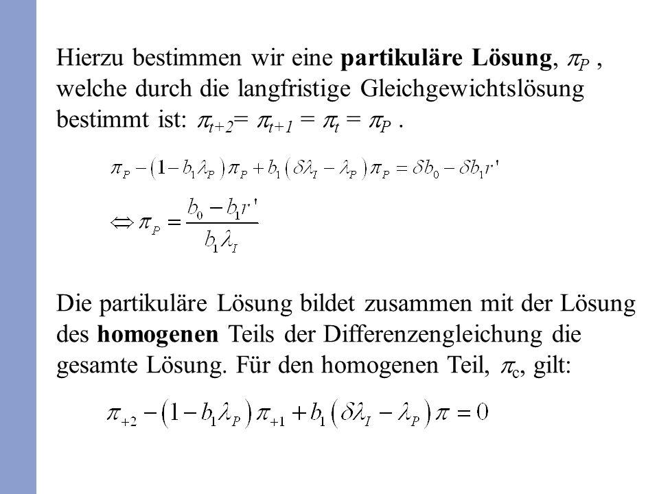 Hierzu bestimmen wir eine partikuläre Lösung, P, welche durch die langfristige Gleichgewichtslösung bestimmt ist: t+2 = t+1 = t = P.