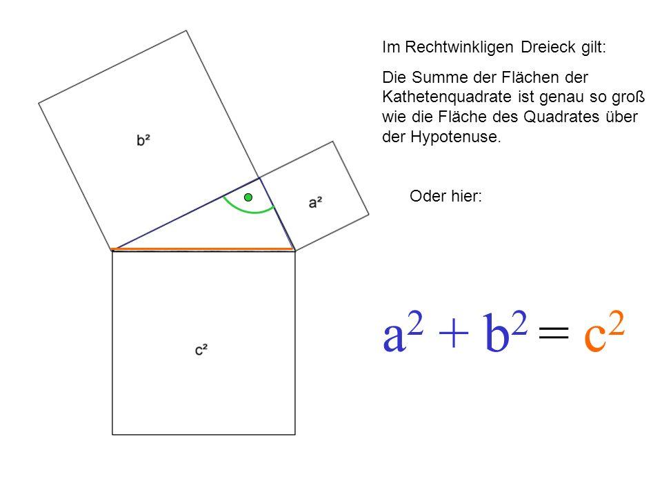 Im Rechtwinkligen Dreieck gilt: Die Summe der Flächen der Kathetenquadrate ist genau so groß wie die Fläche des Quadrates über der Hypotenuse. Oder hi