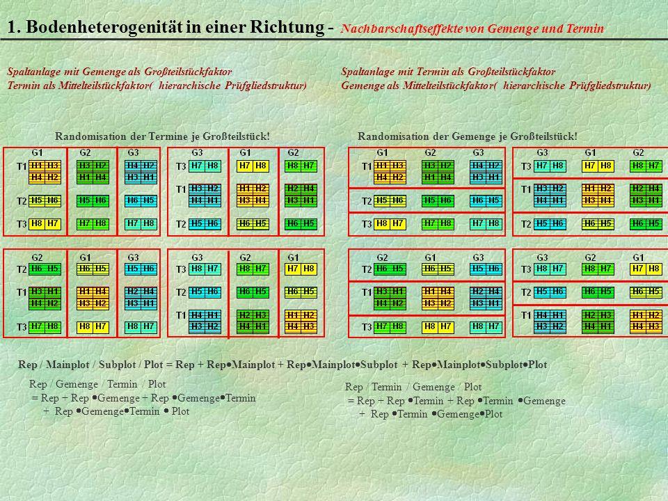 1. Bodenheterogenität in einer Richtung - Nachbarschaftseffekte von Gemenge und Termin Rep / Mainplot / Subplot / Plot = Rep + Rep Mainplot + Rep Main