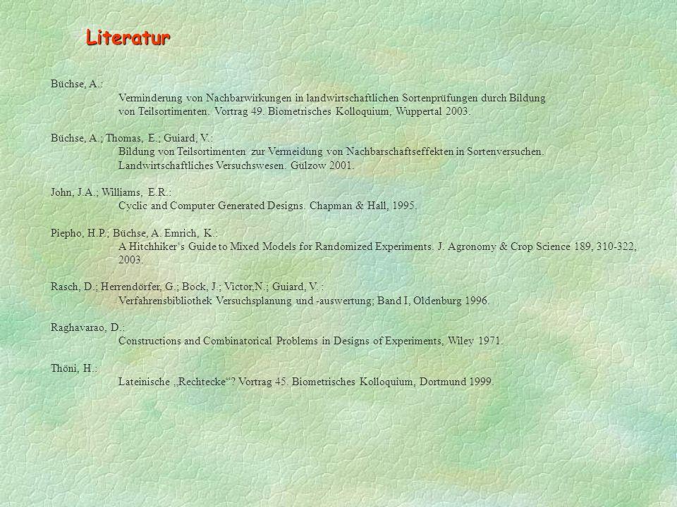 Literatur Büchse, A.: Verminderung von Nachbarwirkungen in landwirtschaftlichen Sortenprüfungen durch Bildung von Teilsortimenten.