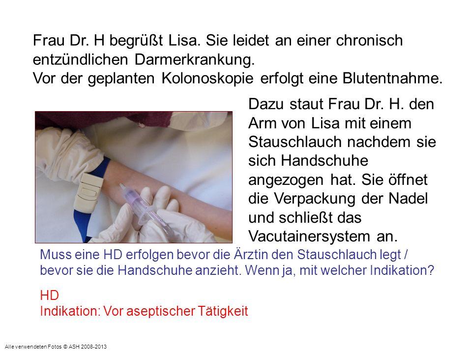 Frau Dr. H begrüßt Lisa. Sie leidet an einer chronisch entzündlichen Darmerkrankung. Vor der geplanten Kolonoskopie erfolgt eine Blutentnahme. Dazu st