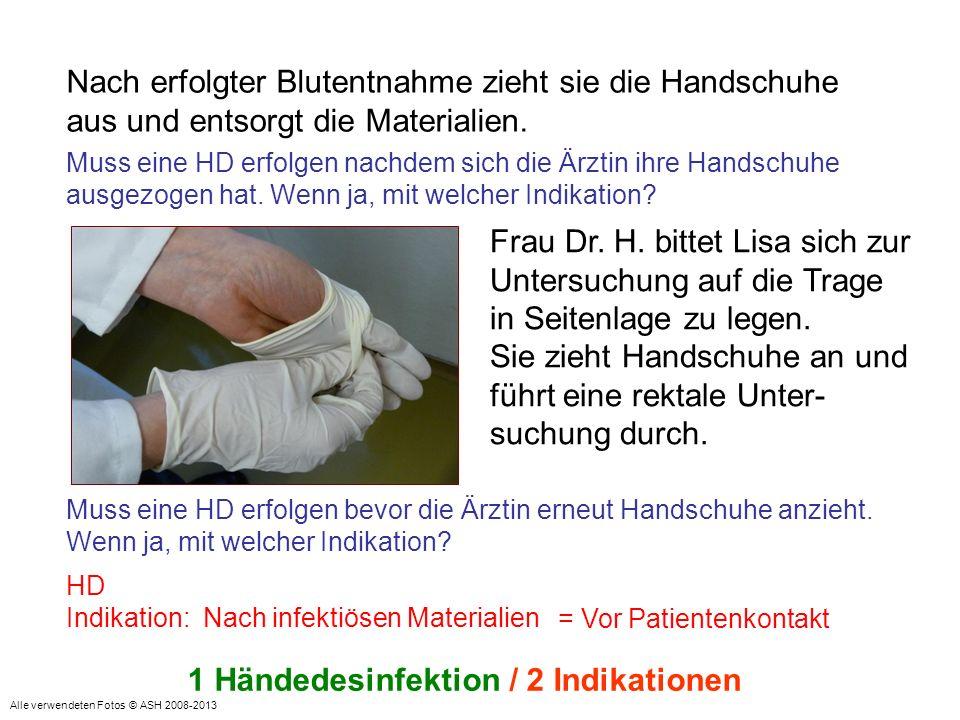 Abschließend entsorgt sie die Handschuhe in den Abfalleimer und verabschiedet sich mit Handschlag.