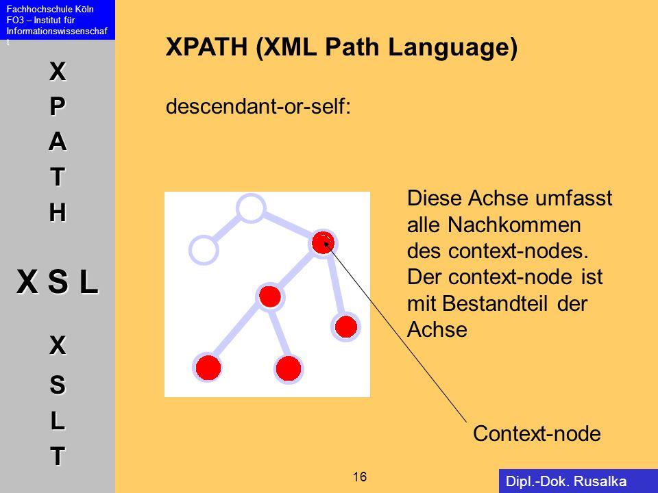 XPATH X S L XSLT Fachhochschule Köln FO3 – Institut für Informationswissenschaf t 16 Dipl.-Dok. Rusalka Offer XPATH (XML Path Language) descendant-or-