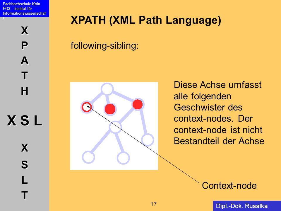 XPATH X S L XSLT Fachhochschule Köln FO3 – Institut für Informationswissenschaf t 17 Dipl.-Dok. Rusalka Offer XPATH (XML Path Language) following-sibl