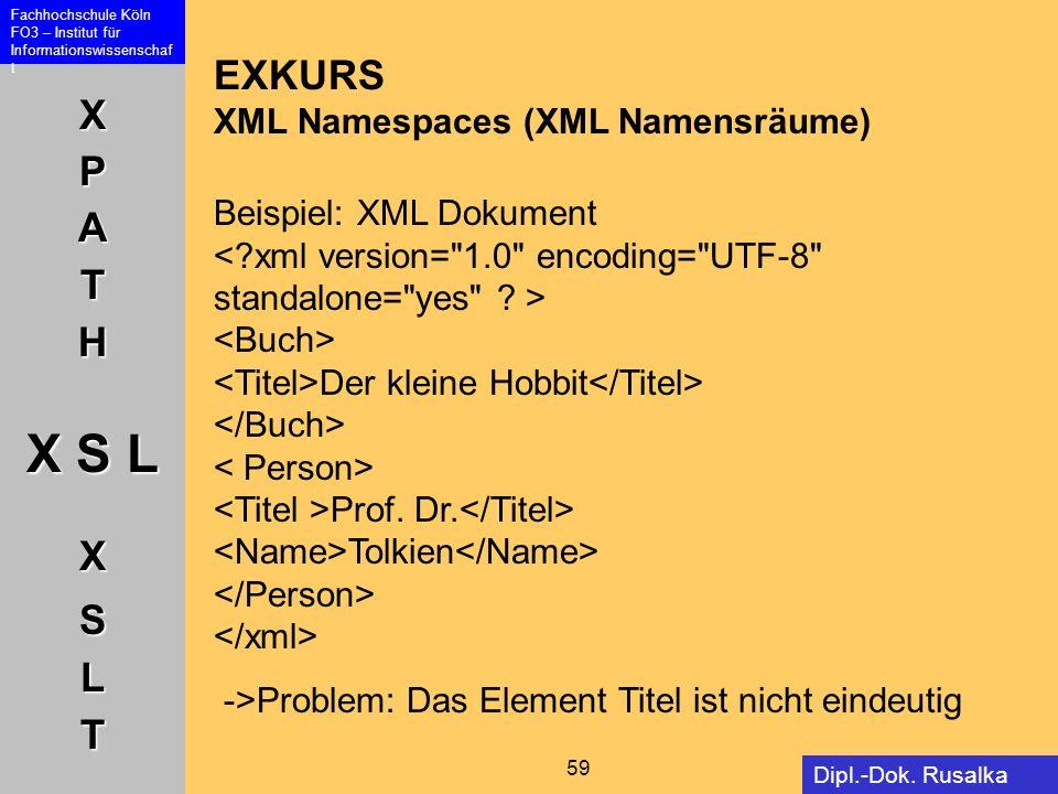 XPATH X S L XSLT Fachhochschule Köln FO3 – Institut für Informationswissenschaf t 59 Dipl.-Dok. Rusalka Offer EXKURS XML Namespaces (XML Namensräume)