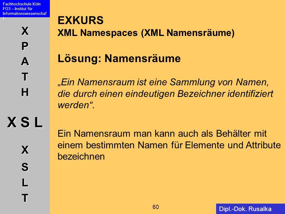XPATH X S L XSLT Fachhochschule Köln FO3 – Institut für Informationswissenschaf t 60 Dipl.-Dok. Rusalka Offer EXKURS XML Namespaces (XML Namensräume)