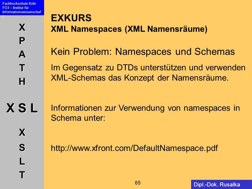 XPATH X S L XSLT Fachhochschule Köln FO3 – Institut für Informationswissenschaf t 65 Dipl.-Dok. Rusalka Offer EXKURS XML Namespaces (XML Namensräume)