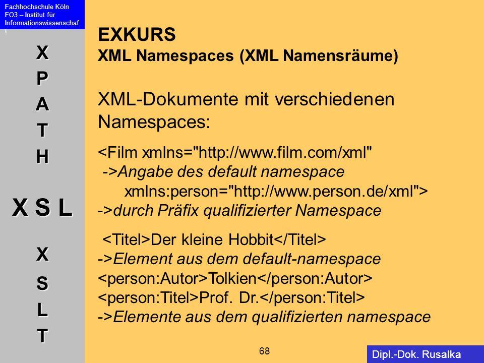 XPATH X S L XSLT Fachhochschule Köln FO3 – Institut für Informationswissenschaf t 68 Dipl.-Dok. Rusalka Offer EXKURS XML Namespaces (XML Namensräume)