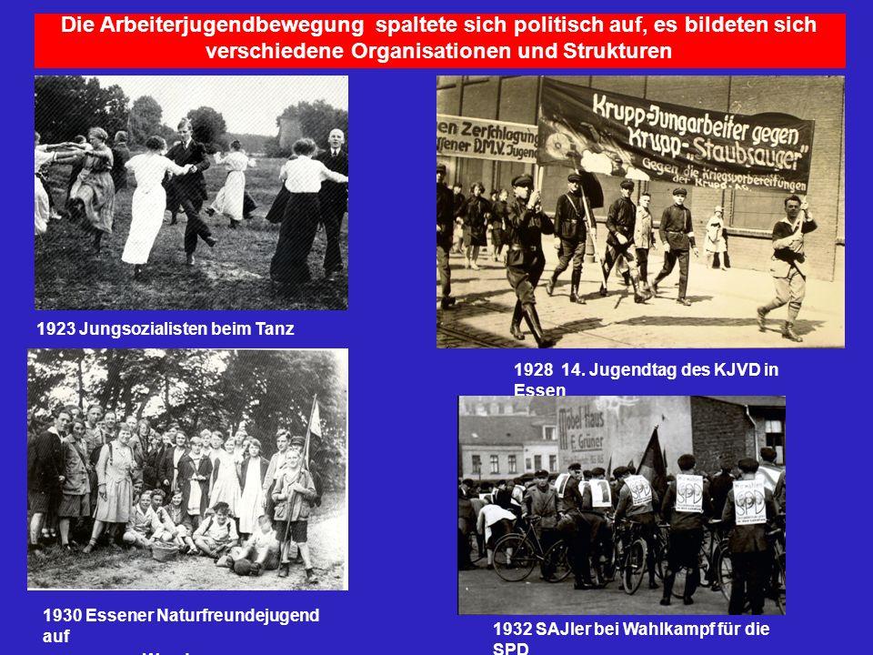 Die Arbeiterjugendbewegung spaltete sich politisch auf, es bildeten sich verschiedene Organisationen und Strukturen 1923 Jungsozialisten beim Tanz 193
