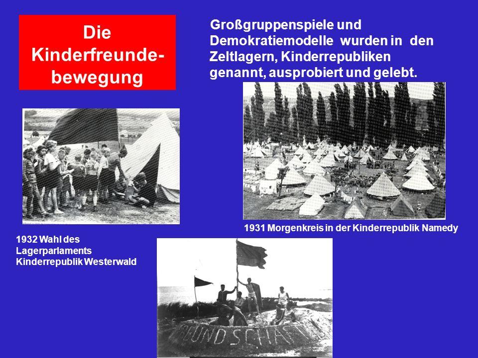 Die Kinderfreunde- bewegung Großgruppenspiele und Demokratiemodelle wurden in den Zeltlagern, Kinderrepubliken genannt, ausprobiert und gelebt. 1932 W