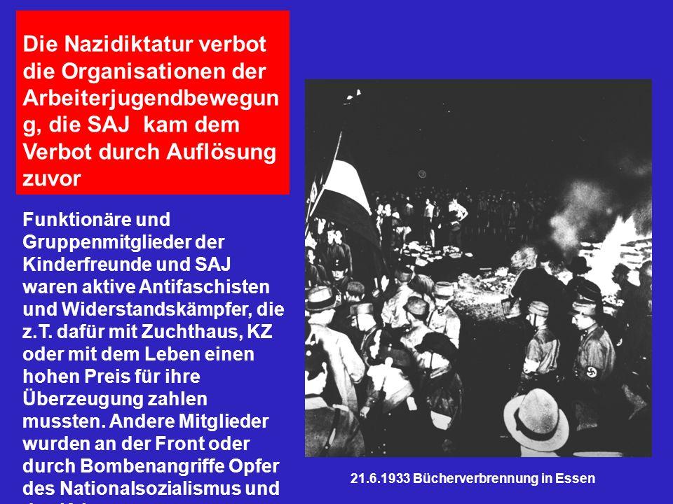 Die Nazidiktatur verbot die Organisationen der Arbeiterjugendbewegun g, die SAJ kam dem Verbot durch Auflösung zuvor Funktionäre und Gruppenmitglieder