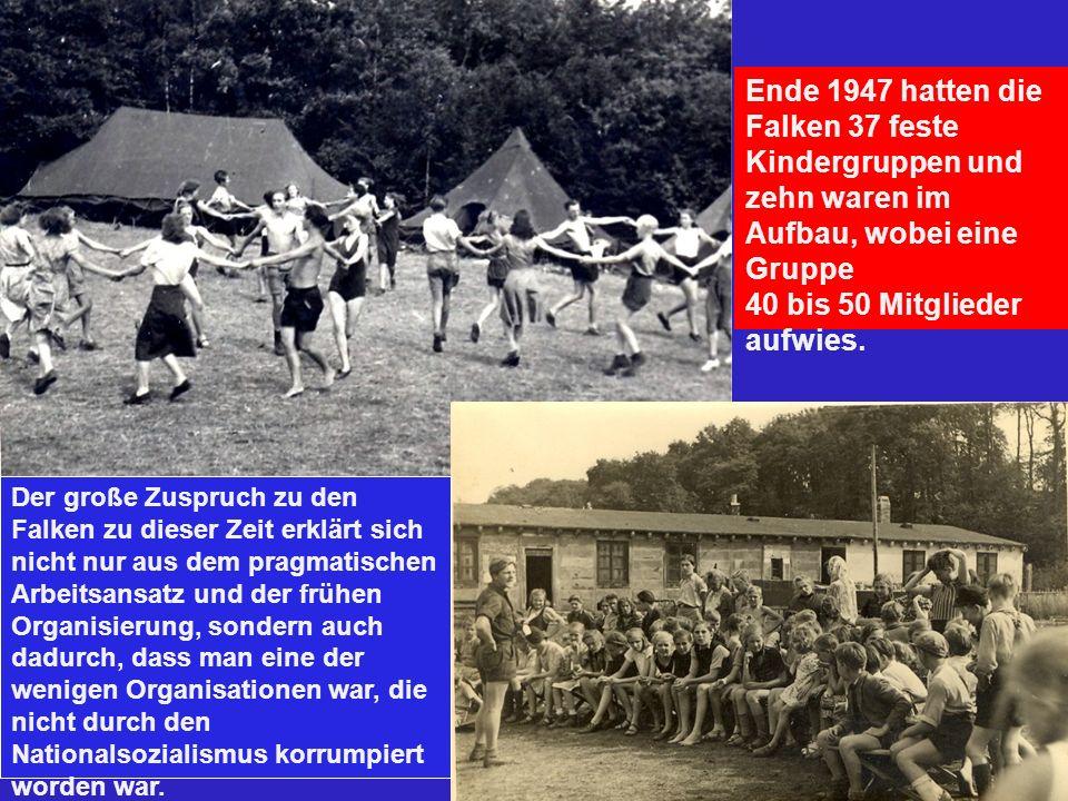 Ende 1947 hatten die Falken 37 feste Kindergruppen und zehn waren im Aufbau, wobei eine Gruppe 40 bis 50 Mitglieder aufwies. Der große Zuspruch zu den