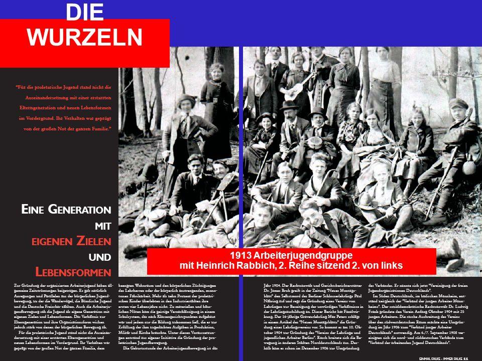 1913 Arbeiterjugendgruppe mit Heinrich Rabbich, 2. Reihe sitzend 2. von links DIE WURZELN