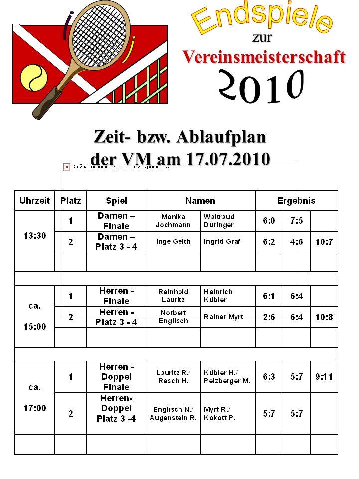 Vereinsmeisterschaft zur Zeit- bzw. Ablaufplan der VM am 17.07.2010