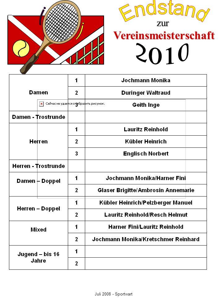 Vereinsmeisterschaft zur Juli 2008 - Sportwart