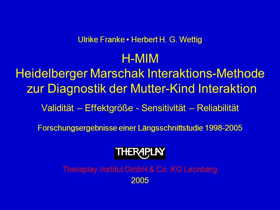 Ulrike Franke Herbert H. G. Wettig H-MIM Heidelberger Marschak Interaktions-Methode zur Diagnostik der Mutter-Kind Interaktion Validität – Effektgröße