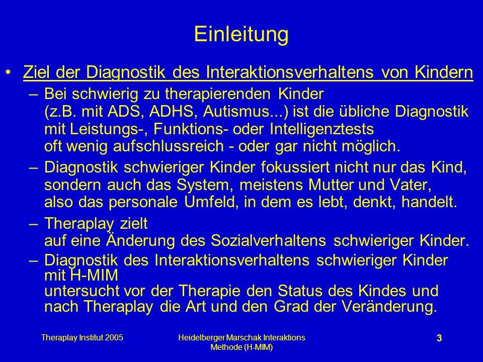Theraplay Institut 2005Heidelberger Marschak Interaktions Methode (H-MIM) 3 Einleitung Ziel der Diagnostik des Interaktionsverhaltens von Kindern –Bei