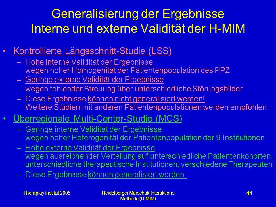 Theraplay Institut 2005Heidelberger Marschak Interaktions Methode (H-MIM) 41 Generalisierung der Ergebnisse Interne und externe Validität der H-MIM Ko