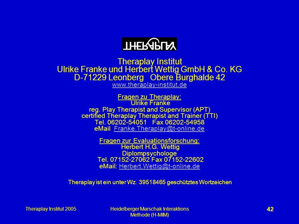 Theraplay Institut 2005Heidelberger Marschak Interaktions Methode (H-MIM) 42 Theraplay Institut Ulrike Franke und Herbert Wettig GmbH & Co. KG D-71229