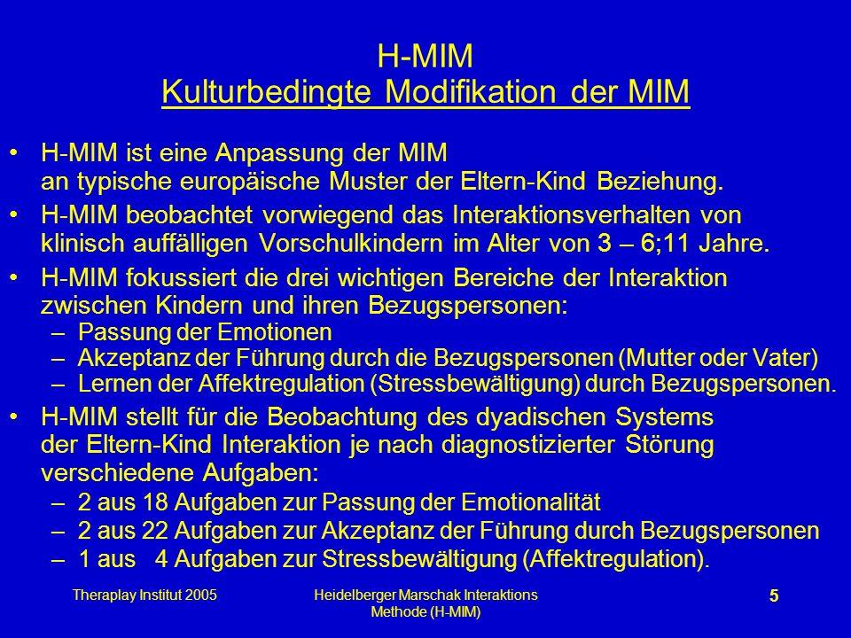 Theraplay Institut 2005Heidelberger Marschak Interaktions Methode (H-MIM) 5 H-MIM Kulturbedingte Modifikation der MIM H-MIM ist eine Anpassung der MIM