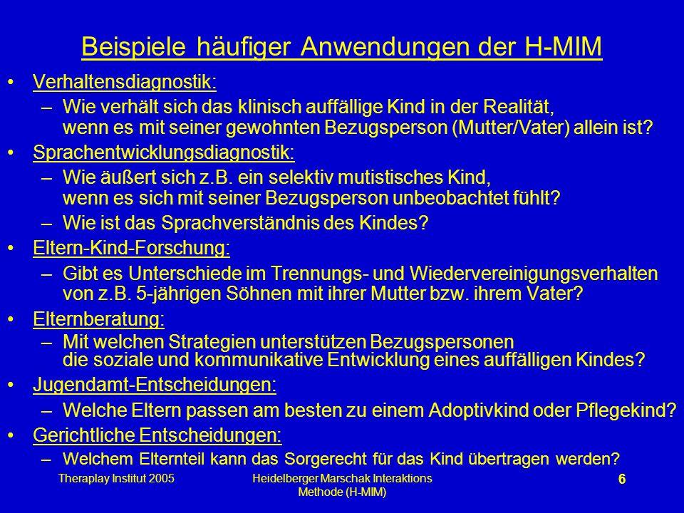 Theraplay Institut 2005Heidelberger Marschak Interaktions Methode (H-MIM) 6 Beispiele häufiger Anwendungen der H-MIM Verhaltensdiagnostik: –Wie verhäl