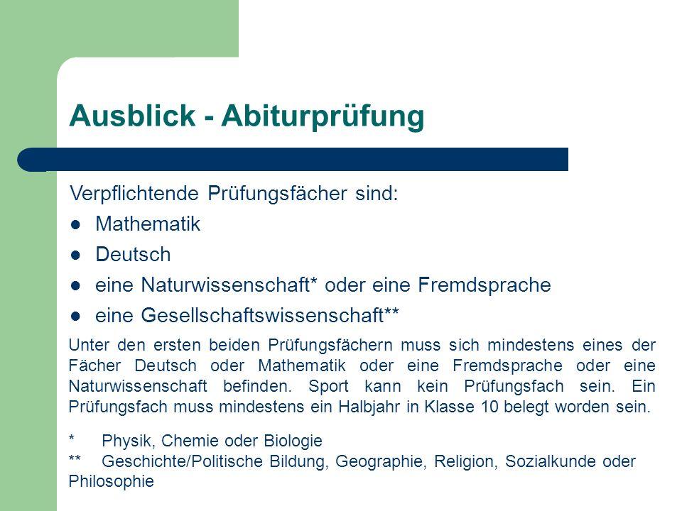 Ausblick - Abiturprüfung Verpflichtende Prüfungsfächer sind: Mathematik Deutsch eine Naturwissenschaft* oder eine Fremdsprache eine Gesellschaftswisse