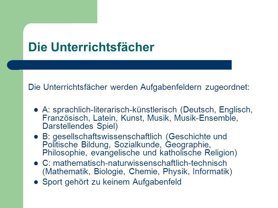 Die Unterrichtsfächer Die Unterrichtsfächer werden Aufgabenfeldern zugeordnet: A: sprachlich-literarisch-künstlerisch (Deutsch, Englisch, Französisch,
