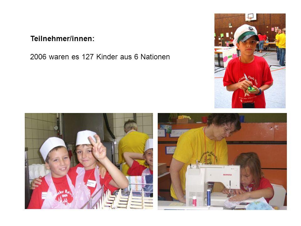 Teilnehmer/innen: 2006 waren es 127 Kinder aus 6 Nationen