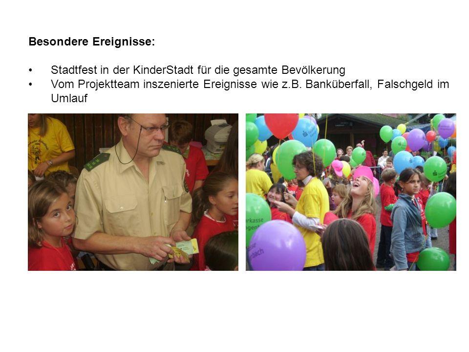 Besondere Ereignisse: Stadtfest in der KinderStadt für die gesamte Bevölkerung Vom Projektteam inszenierte Ereignisse wie z.B.