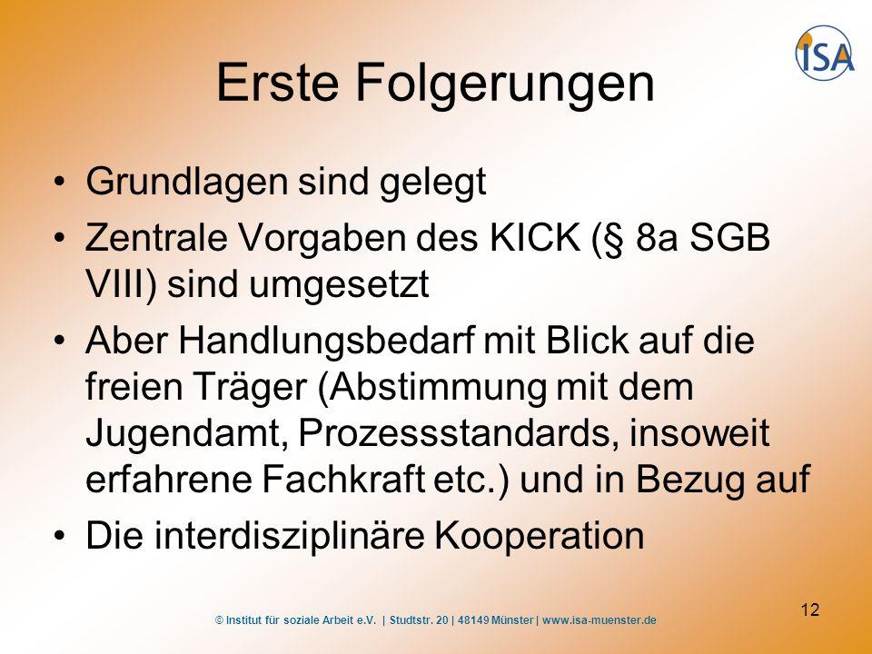 © Institut für soziale Arbeit e.V. | Studtstr. 20 | 48149 Münster | www.isa-muenster.de 12 Erste Folgerungen Grundlagen sind gelegt Zentrale Vorgaben