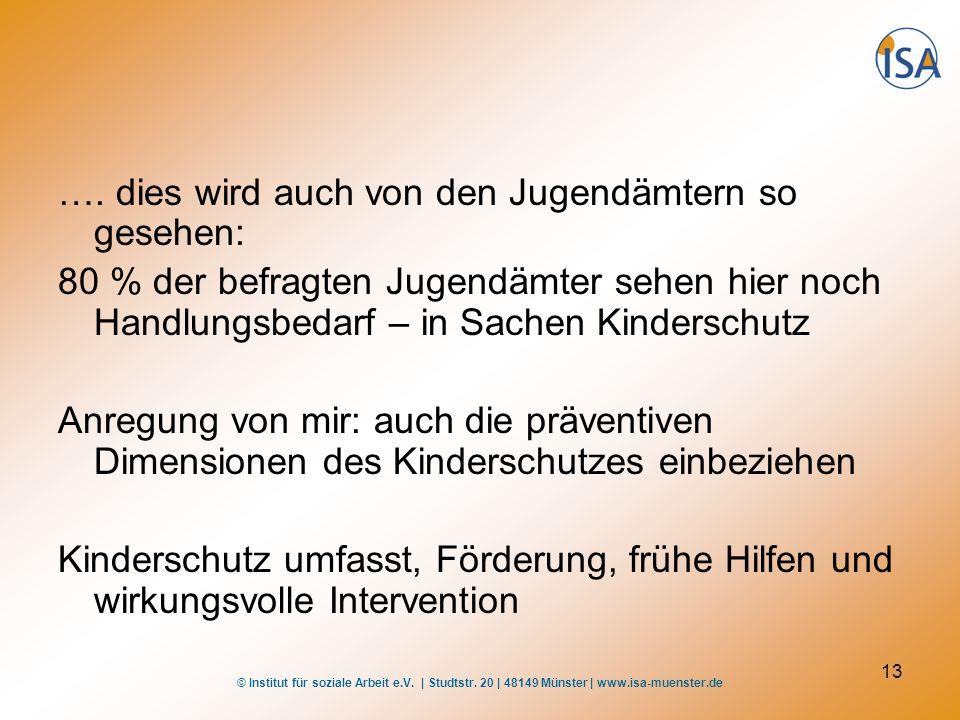 © Institut für soziale Arbeit e.V. | Studtstr. 20 | 48149 Münster | www.isa-muenster.de 13 …. dies wird auch von den Jugendämtern so gesehen: 80 % der