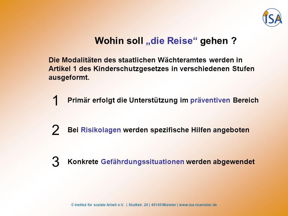 © Institut für soziale Arbeit e.V. | Studtstr. 20 | 48149 Münster | www.isa-muenster.de Wohin soll die Reise gehen ? Die Modalitäten des staatlichen W