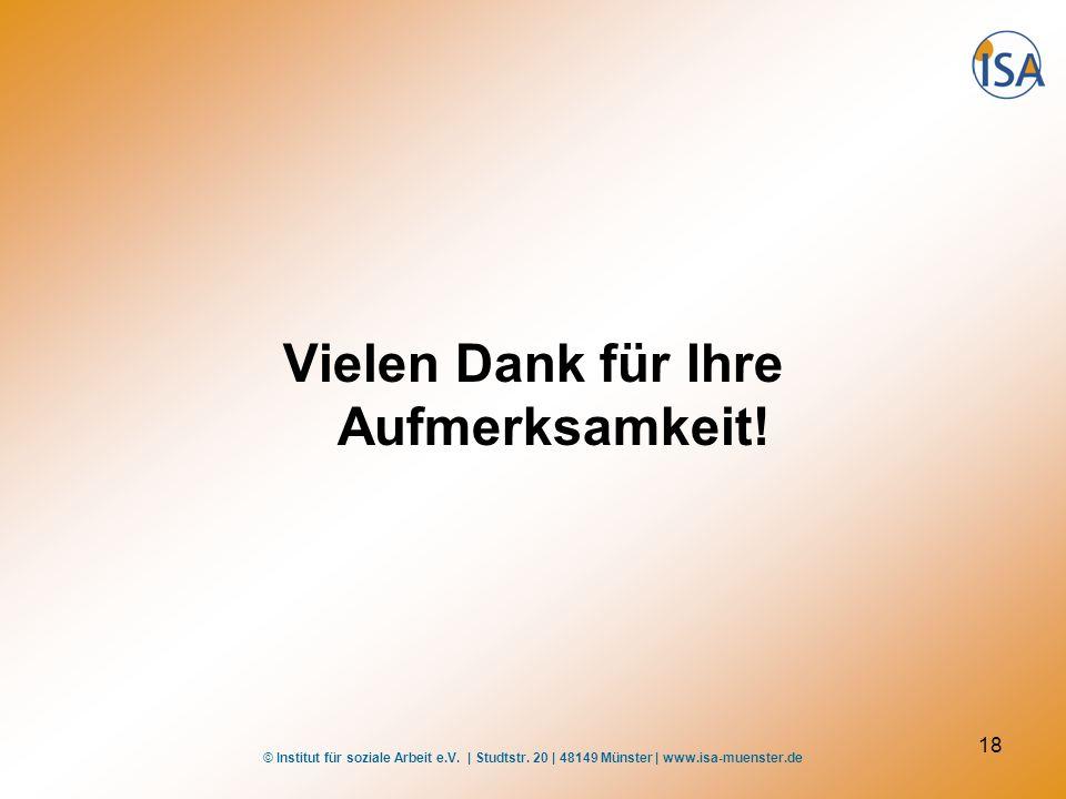 © Institut für soziale Arbeit e.V. | Studtstr. 20 | 48149 Münster | www.isa-muenster.de 18 Vielen Dank für Ihre Aufmerksamkeit!