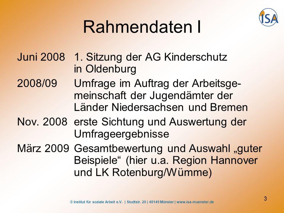 © Institut für soziale Arbeit e.V. | Studtstr. 20 | 48149 Münster | www.isa-muenster.de 3 Rahmendaten I Juni 20081. Sitzung der AG Kinderschutz in Old