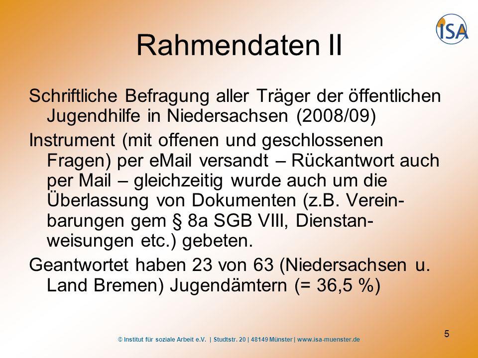 © Institut für soziale Arbeit e.V. | Studtstr. 20 | 48149 Münster | www.isa-muenster.de 5 Rahmendaten II Schriftliche Befragung aller Träger der öffen