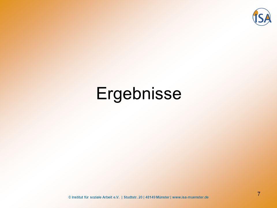 © Institut für soziale Arbeit e.V. | Studtstr. 20 | 48149 Münster | www.isa-muenster.de 7 Ergebnisse