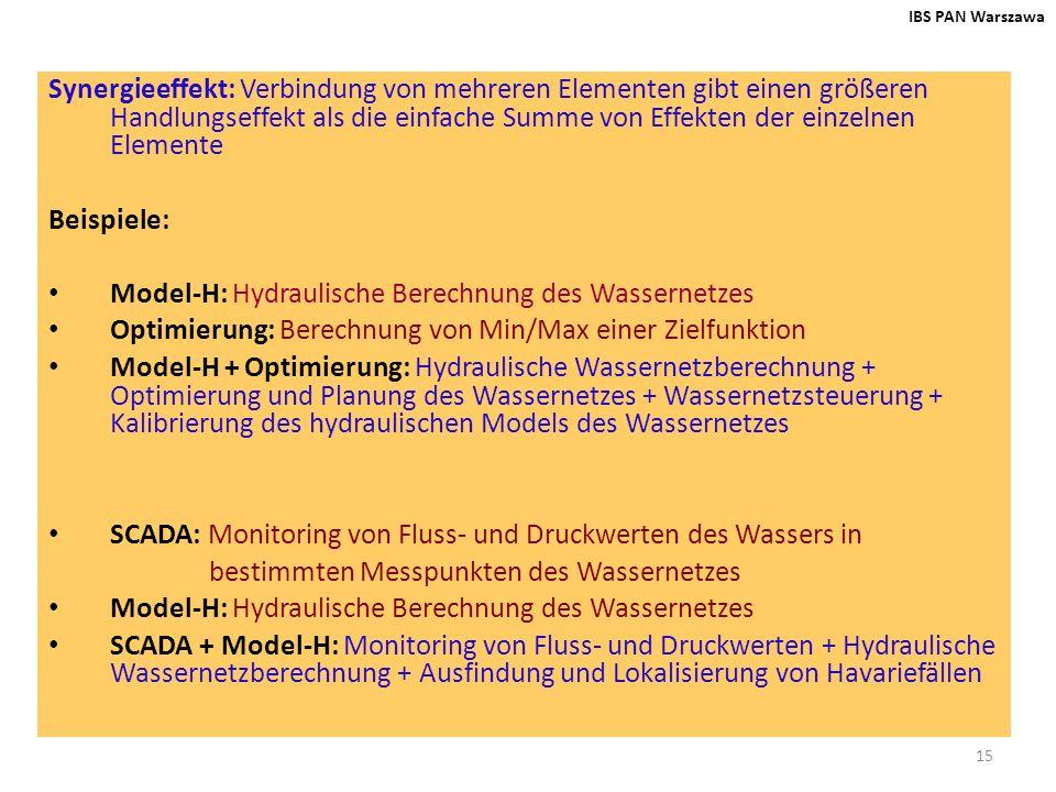 15 IBS PAN Warszawa Synergieeffekt: Verbindung von mehreren Elementen gibt einen größeren Handlungseffekt als die einfache Summe von Effekten der einz