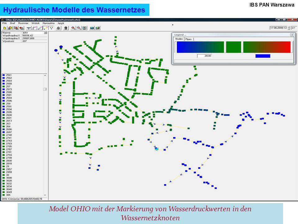 17 IBS PAN Warszawa Model OHIO mit der Markierung von Wasserdruckwerten in den Wassernetzknoten Hydraulische Modelle des Wassernetzes