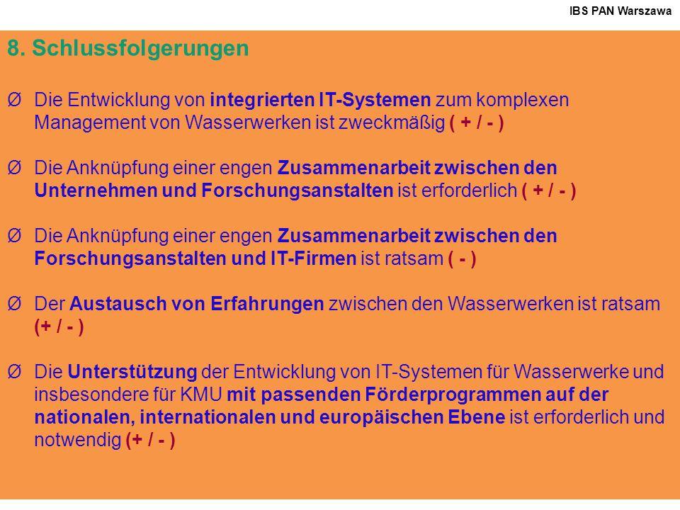 32 8. Schlussfolgerungen ØDie Entwicklung von integrierten IT-Systemen zum komplexen Management von Wasserwerken ist zweckmäßig ( + / - ) ØDie Anknüpf