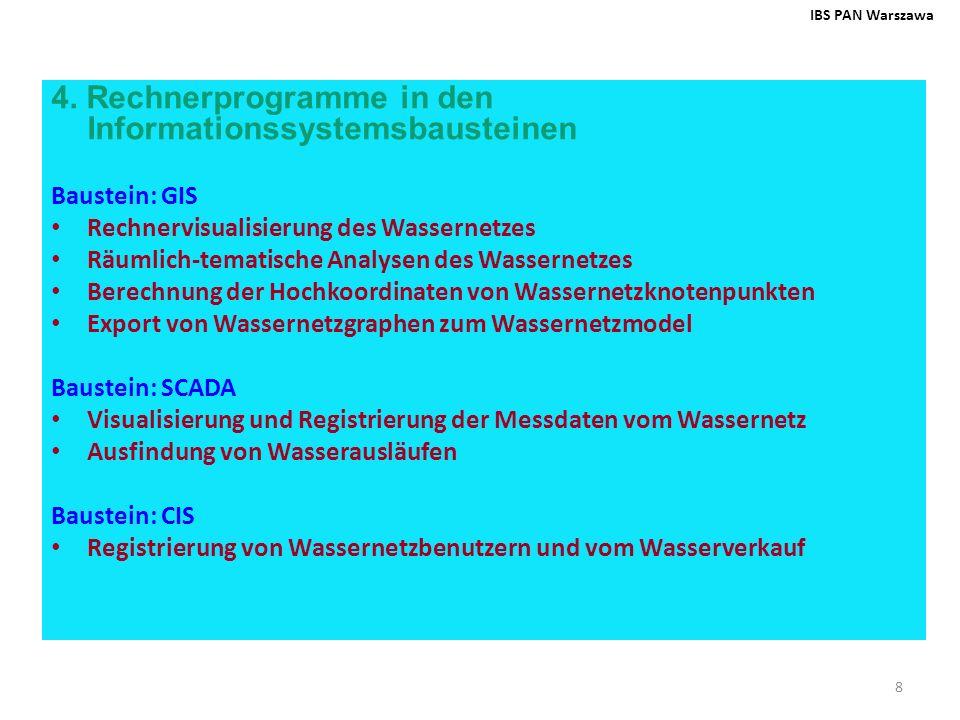 9 Baustein: Modelle und Rechenalgorithmen Hydraulische Modellierung (Mosuw-H) Kalibrierung des hydraulischen Models (Mosuw-K) Optimierung und Planung des Wassernetzes (Mosuw-O) Pumpensteuerung (Mosuw-P) Vorhersage der hydraulischen Wassernetzbelastung (IDOL) Planung des Monitoringssystems (Mosuw-M) Ausfindung und Lokalisierung von Havariefällen (Mosuw-A) Berechnung der Hochkoordinaten von Wassernetzknotenpunkten (Kripog) Herstellung der Karten von Fluss- und Druckverteilungen im Wassernetz (Kripow) Herstellung der Karten der Wassernetzempfindlichkeit gegen Havariefälle (Kripom) IBS PAN Warszawa