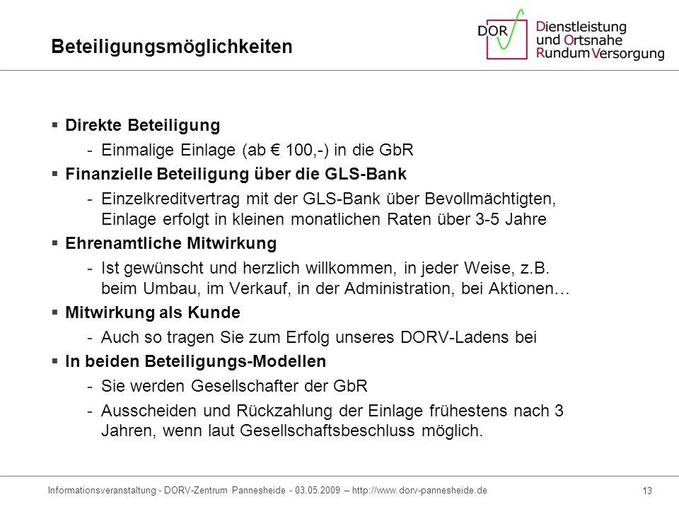 11 Informationsveranstaltung – DORV-Zentrum Pannesheide – 03.05.2009 – http://www.dorv-pannesheide.de Gesellschaftsstruktur, direkte Beteiligung Panne