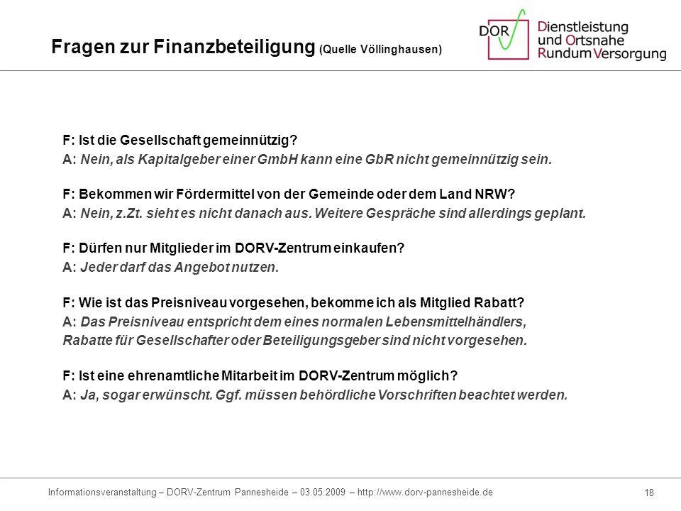 Investitionssicherung Erfahrungen durch DORV-Zentrum Jülich-Barmen und andere erfolgreich etablierte DORV-Zentren (z.B. Völlingen) Nahversorgungskonze